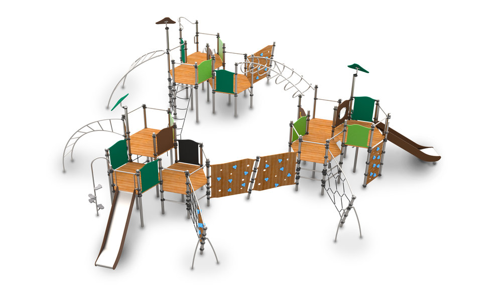 This climbing frame has a small fooprint but lots of activities