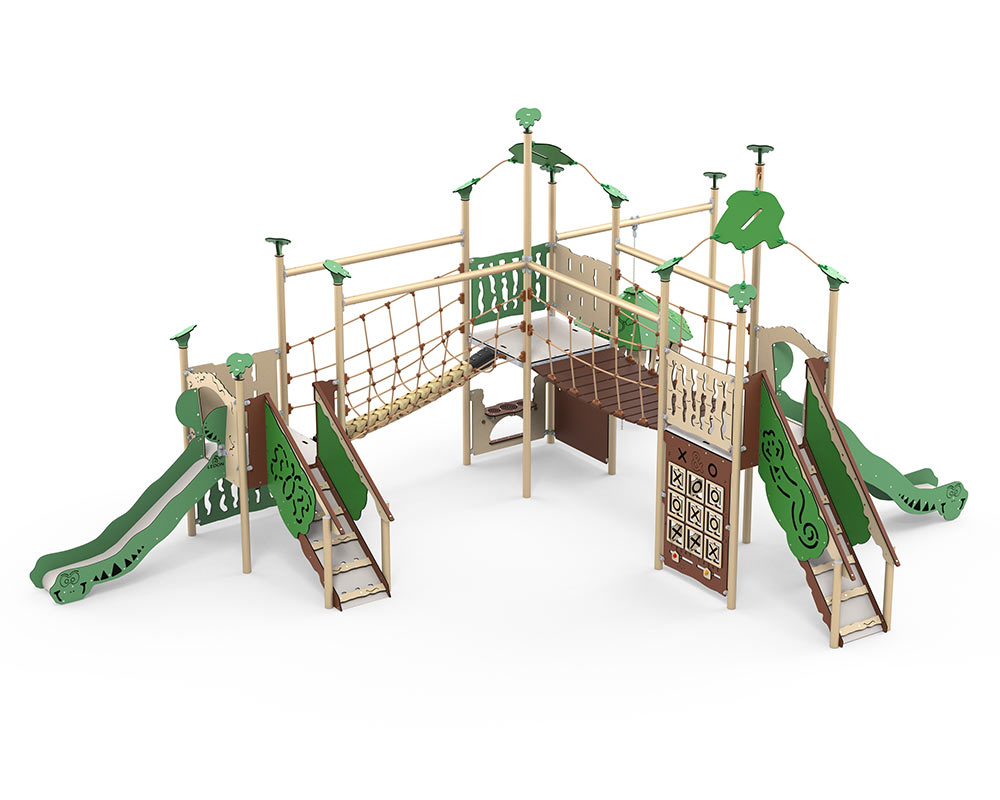 A large multiplay unit with steps up to platforms rope bridges sensory play and two slides