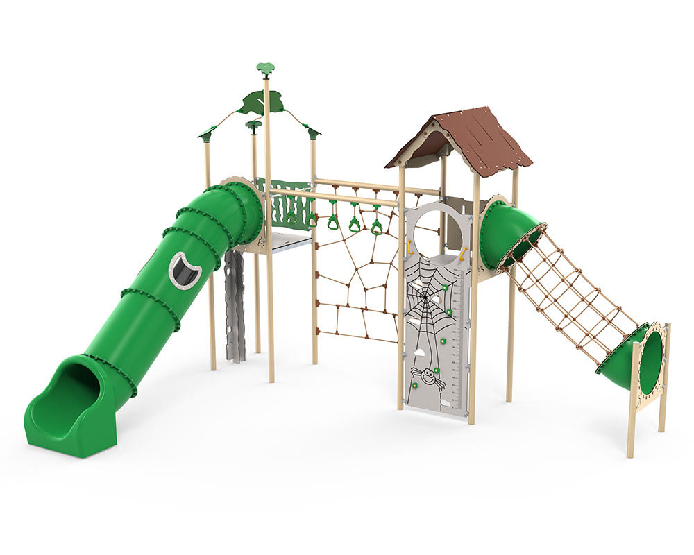 A tower multi play unit with vigourouse climbing and slide