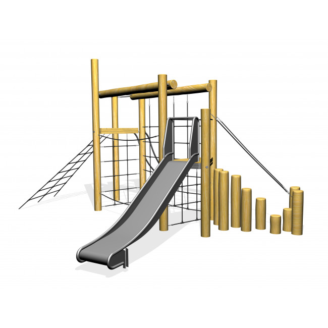 Robinia wooden climbing frame with slide