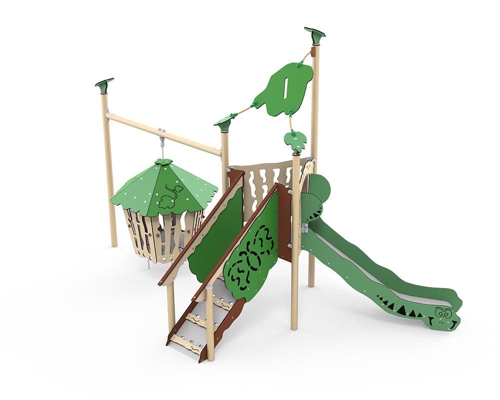 A toddler climmbing frame with birds nest hamock swing, slide, raised play house with steps up with play house to side.