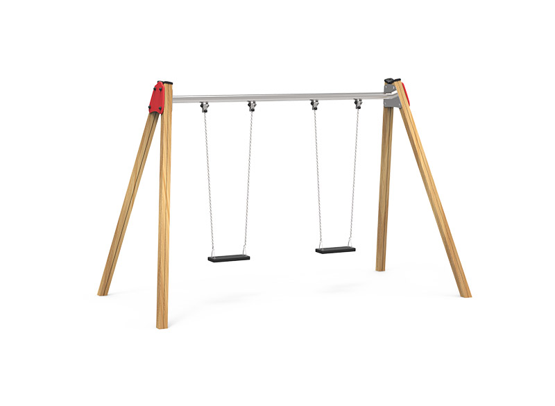 Play Area Equipment Double Wooden Swing