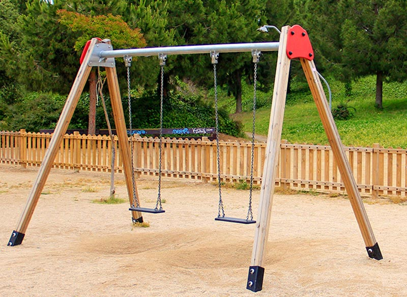 Wood framed swing for play areas