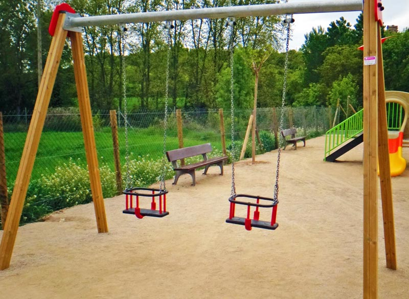 Wood framed cradle swing for play areas