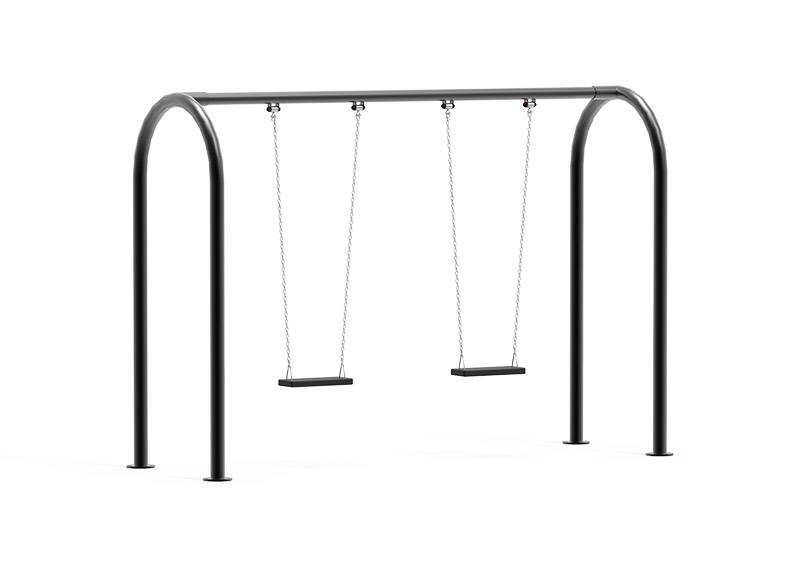 Metal swing for commercial play areas