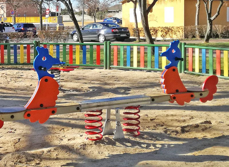 Durable seesaw style play area springer