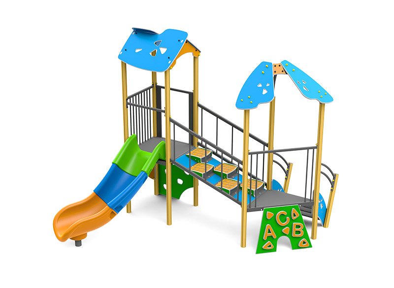 Aluminium play and climbing structure with slide