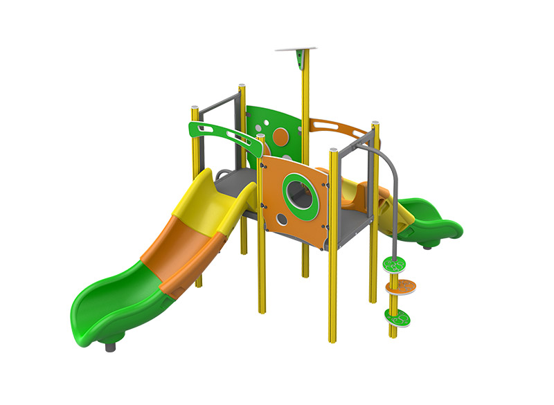 Play area structure with plastic tube slide