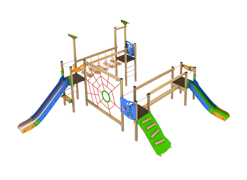 Large commercial play area climbing structure with slide climbing and bridges