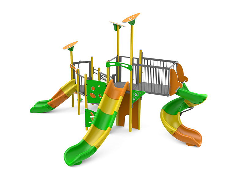 Colourful tube slide play structure