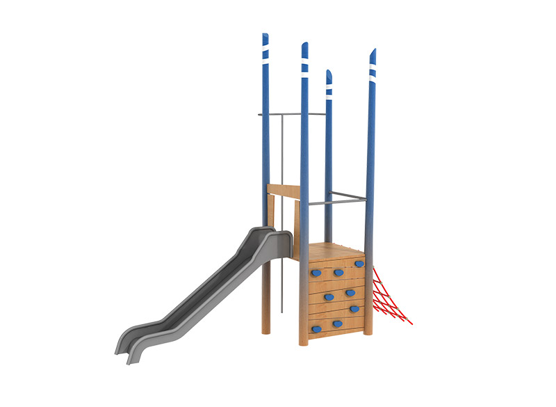 Natura Robinia wood play area slide and climbing structure