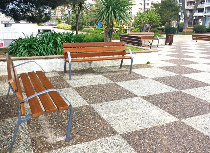 Two double wooden park benches