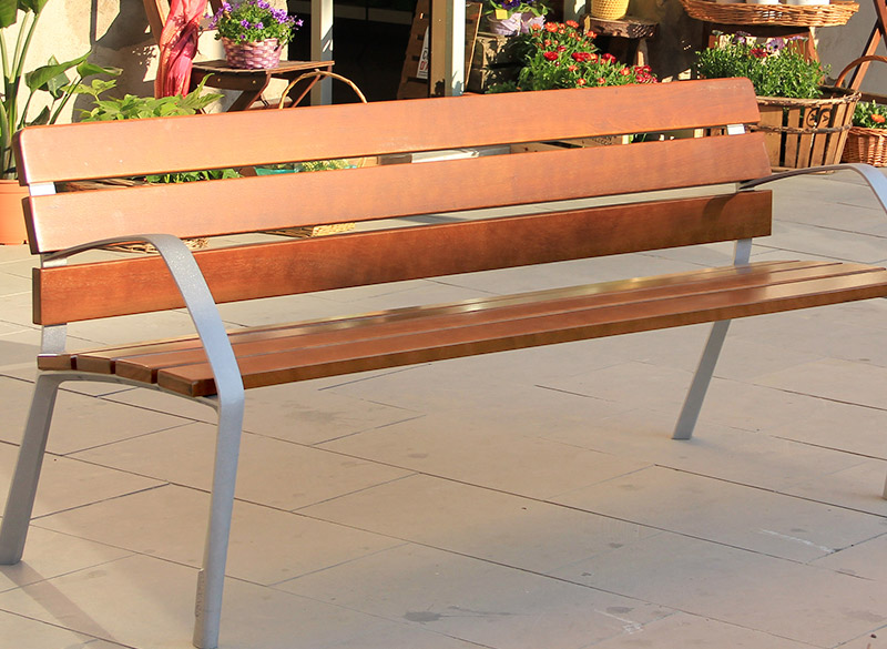 Modern wood park bench
