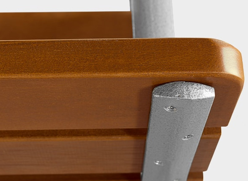 Close up of wooden bench fixings