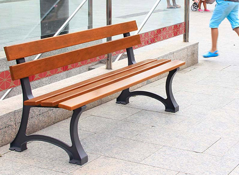 Traditional wood bench for parks and public areas