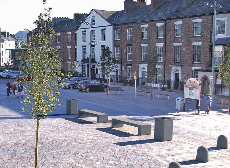 Concrete benches in urban town areas