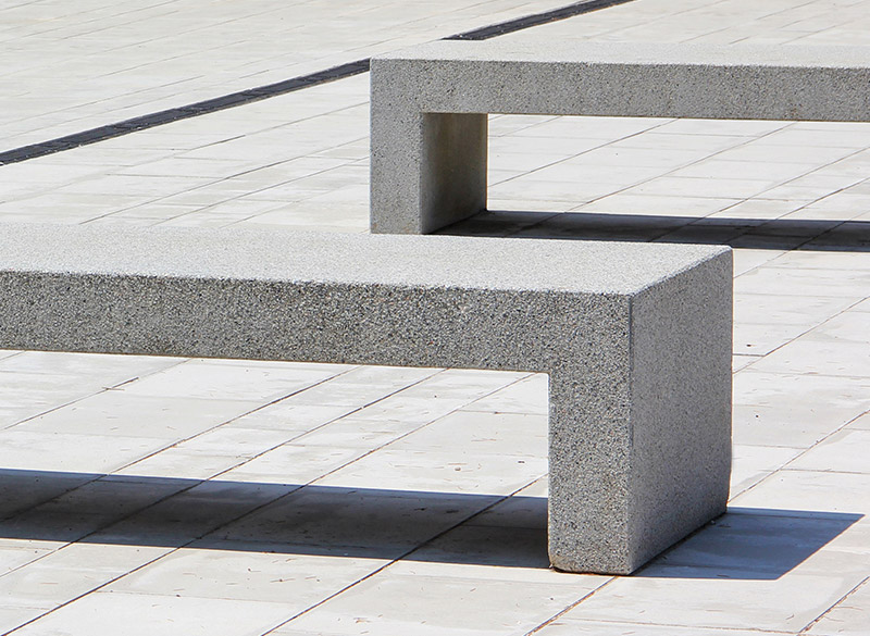 Modern architectural designed concrete bench