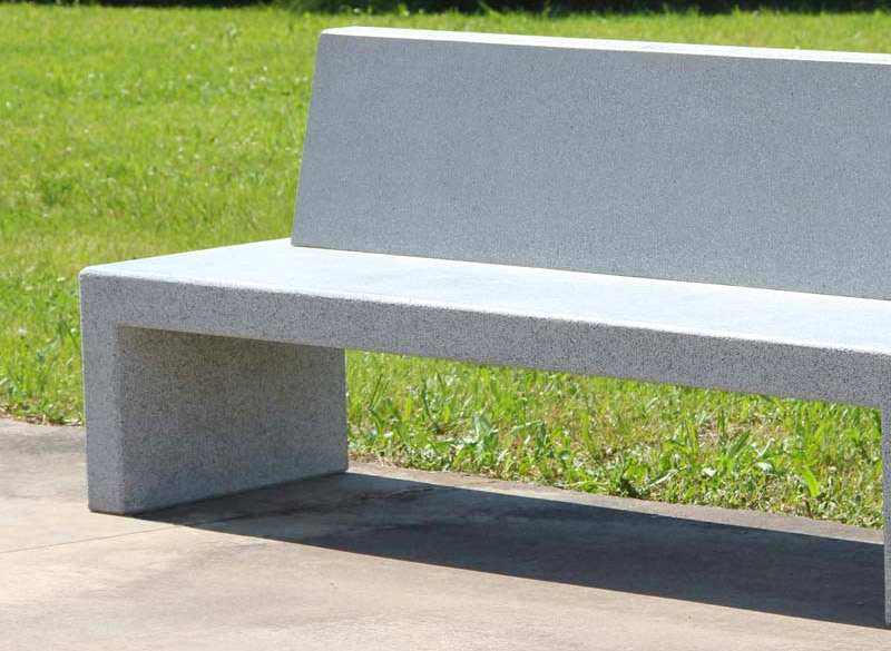 Really modern concrete bench with back support for parks and public areas