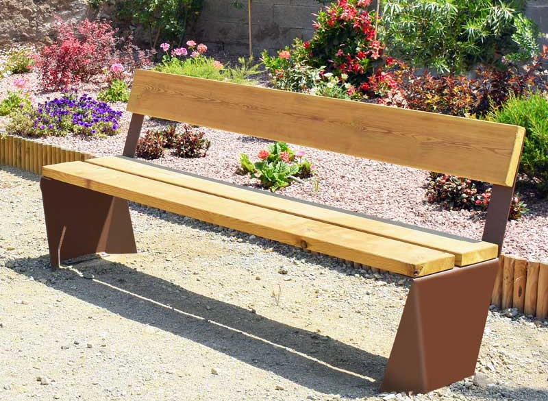 Wooden communal bench with rust effect metal frame