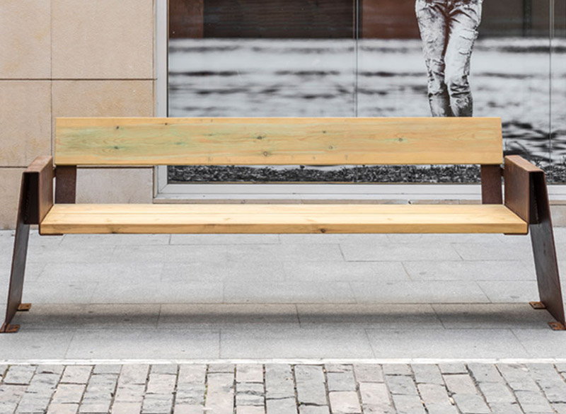 Modern wood and metal bench