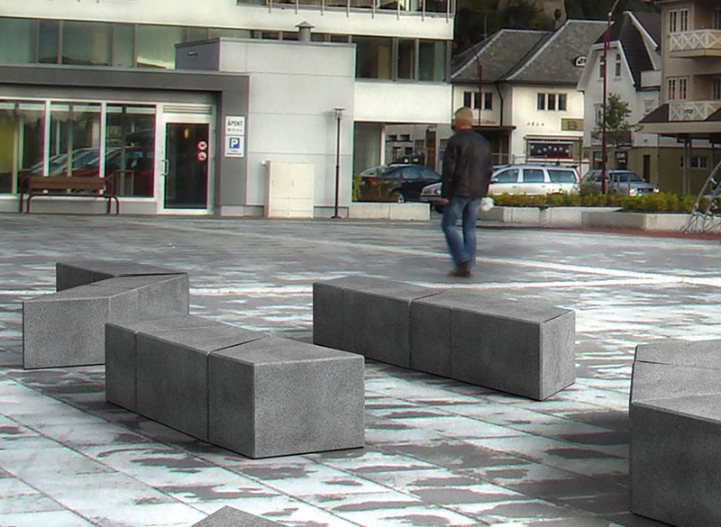 Modular concrete blocks for outdoor seating