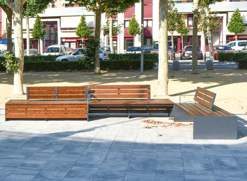 Ultra modern slatted outdoor bench
