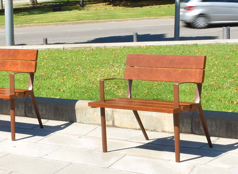 Single wooden bench for parks and playgrounds
