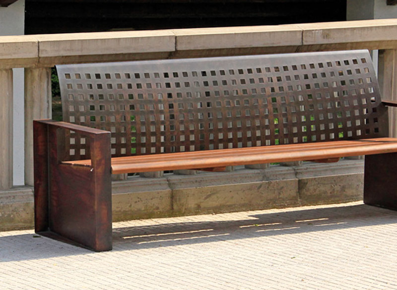 Durable steel bench with wooden seating planks