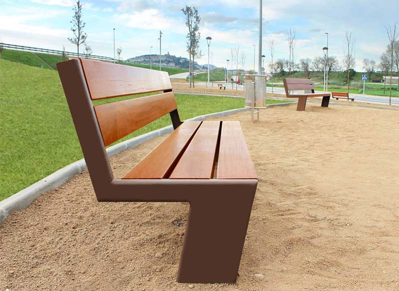 Floating effect wooden public bench