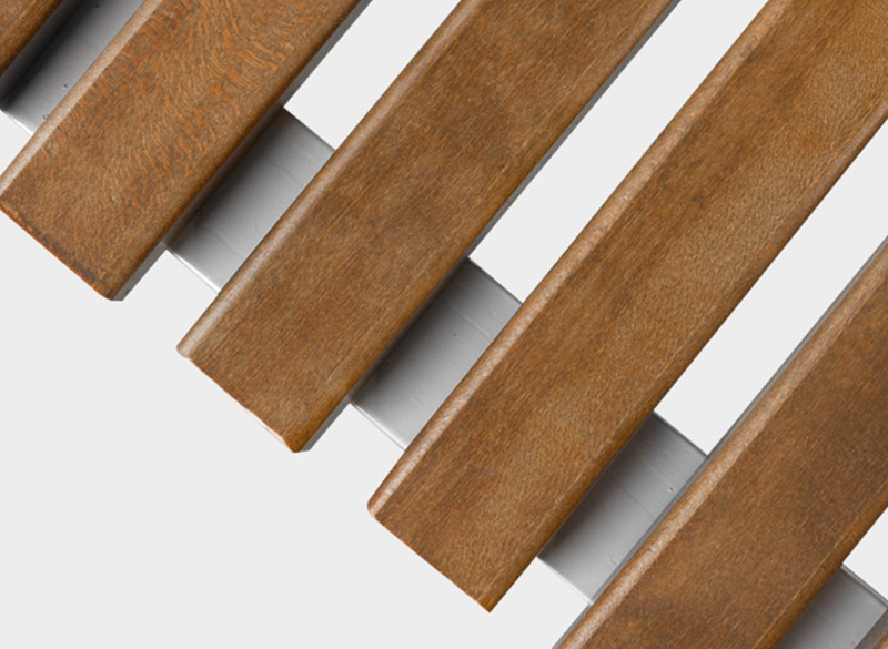 Close up of wooden slats on park bench