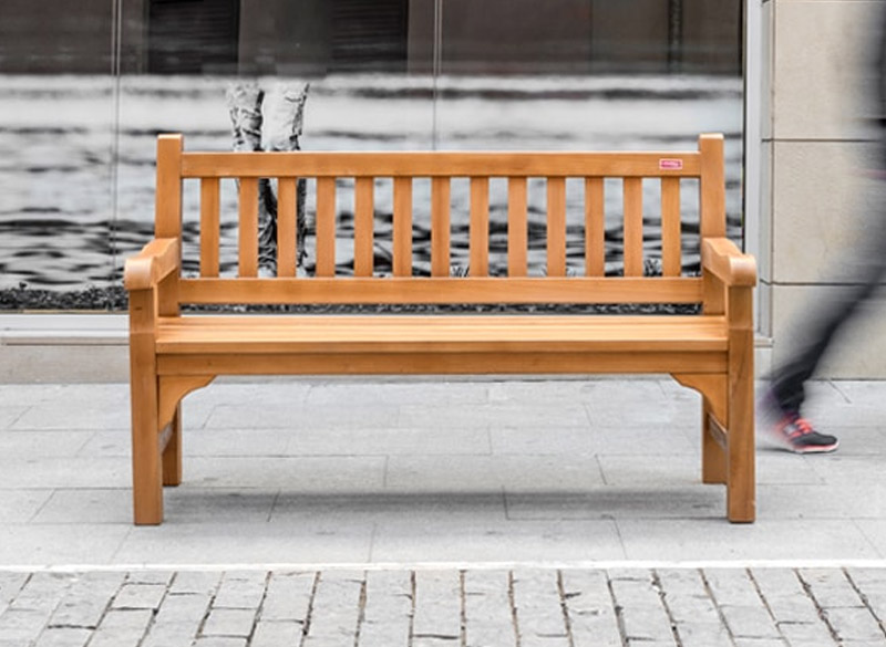 Outdoor bench made from treated pine wood