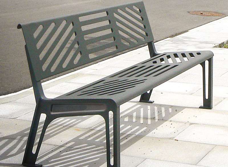 Super durable metal outdoor bench with modern design