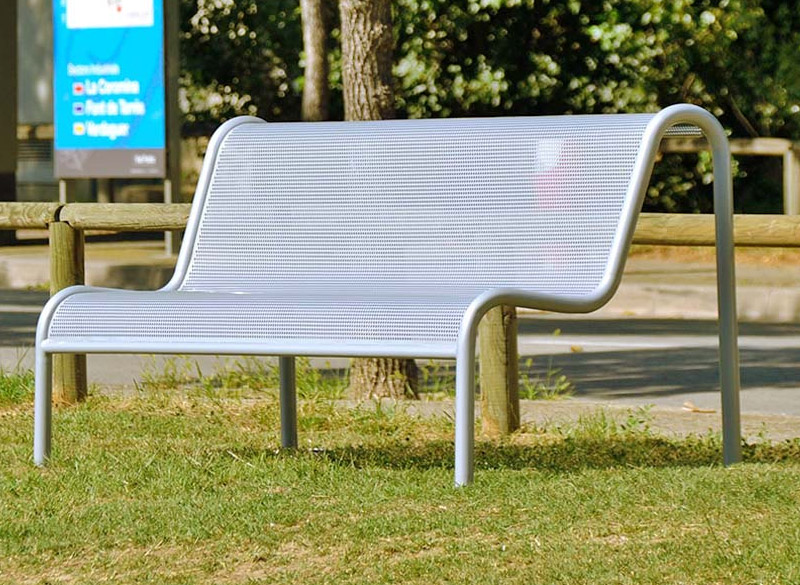 Perforated metal sheet outdoor public bench