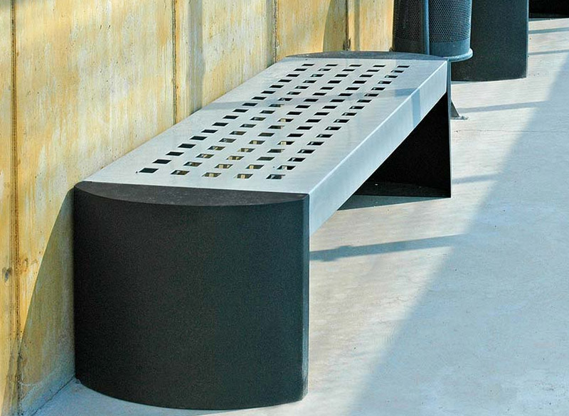 Metal slimline bench perfect for outdoor waiting areas limited on space