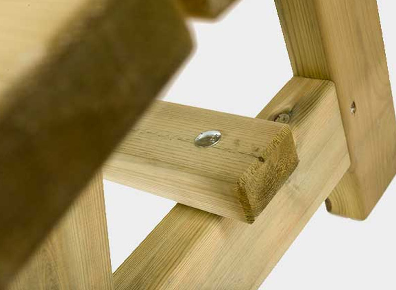 Treated pine wood park bench fixings