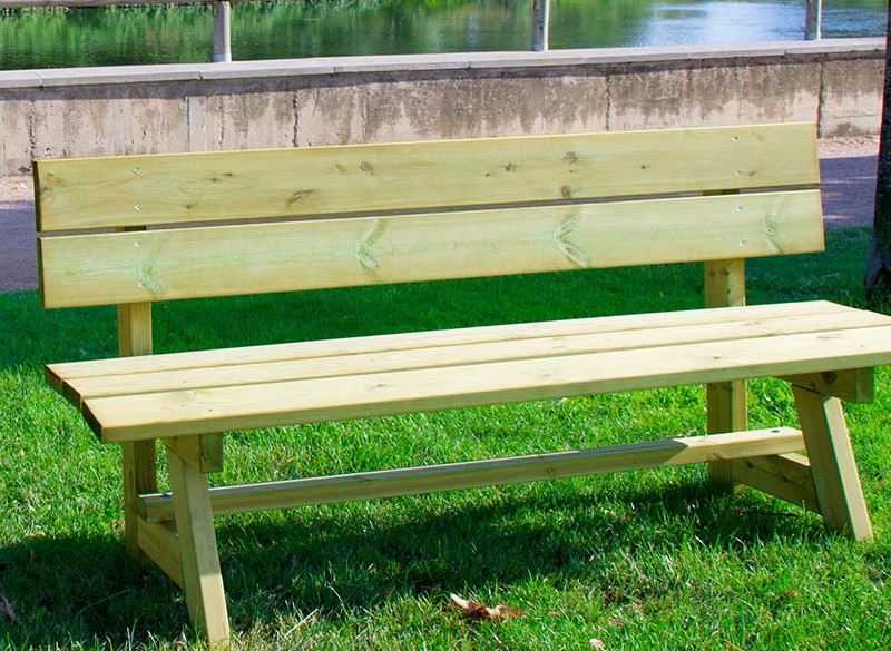 Treated pine wood park bench