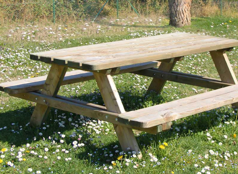 Treated pine wood picnic table bench