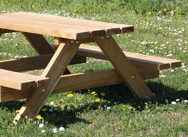 Small children's picnic table and bench