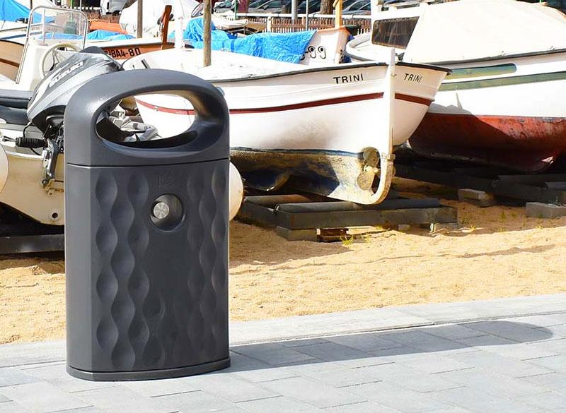 Durable plastic outdoor public litter bin