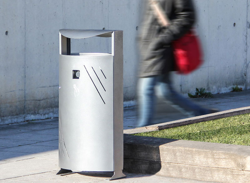 Slim-line metal outdoor public litter bin
