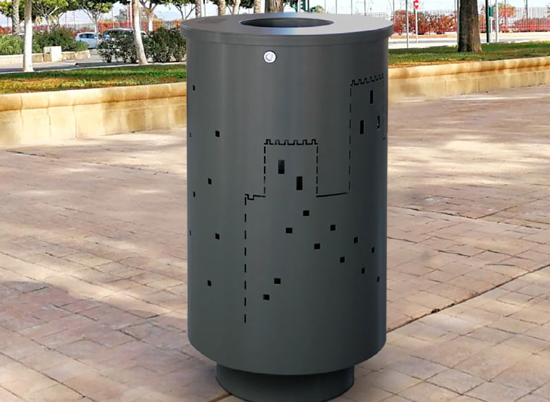 Metal litter bin with customised perforated graphic