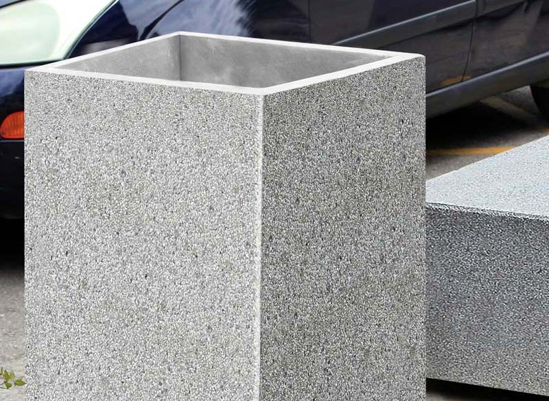 Rectangular concrete outdoor litter bin