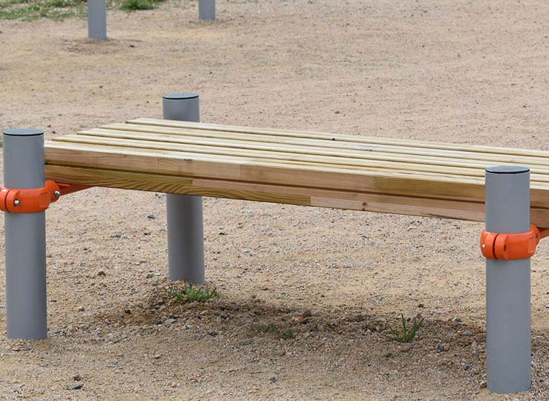 Outdoor metal and wooden gym and exercise equipment