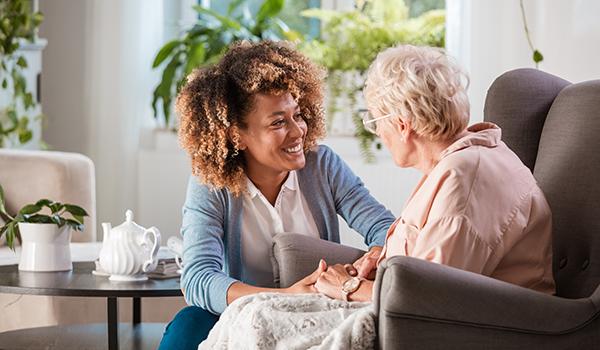 per diem nurse tending to senior in nursing home