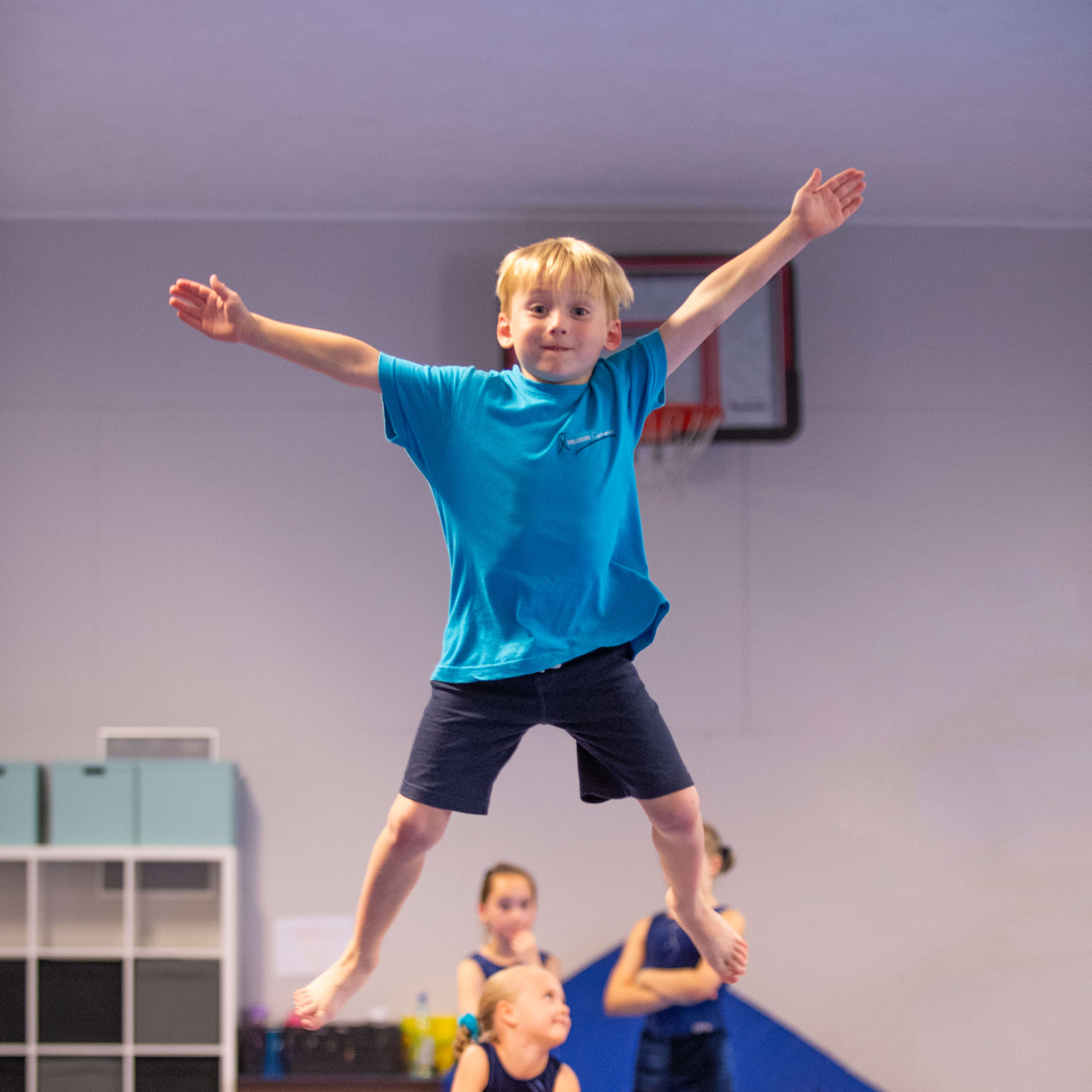 Child jumping having fun