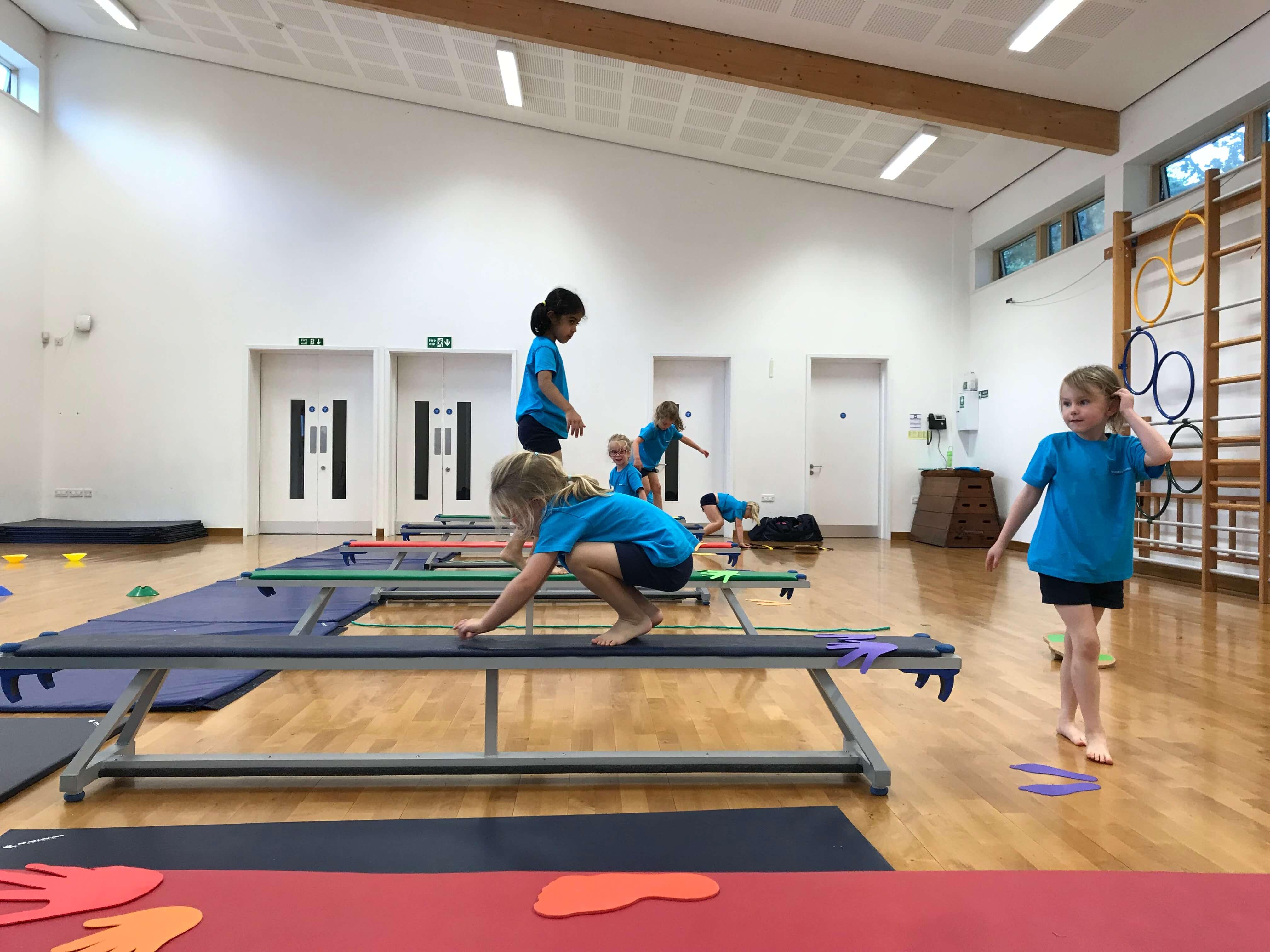 Children in gymnastic class
