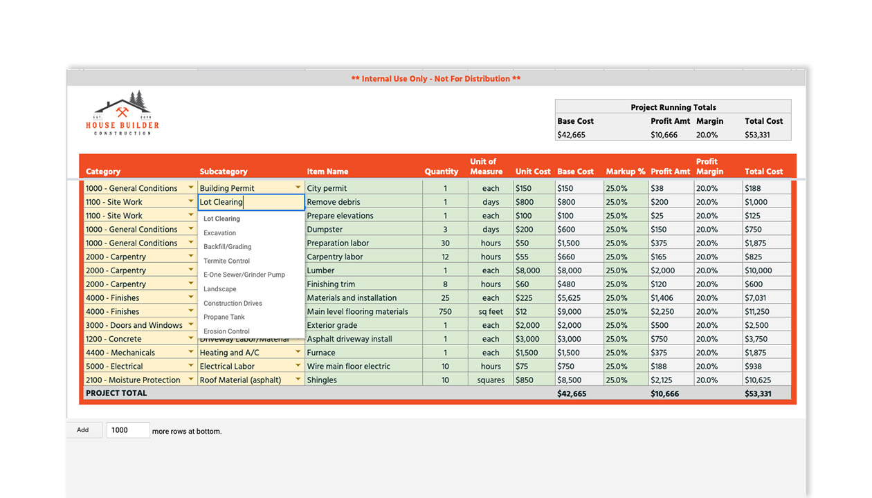 Free Construction Cost Estimate And Proposal Template