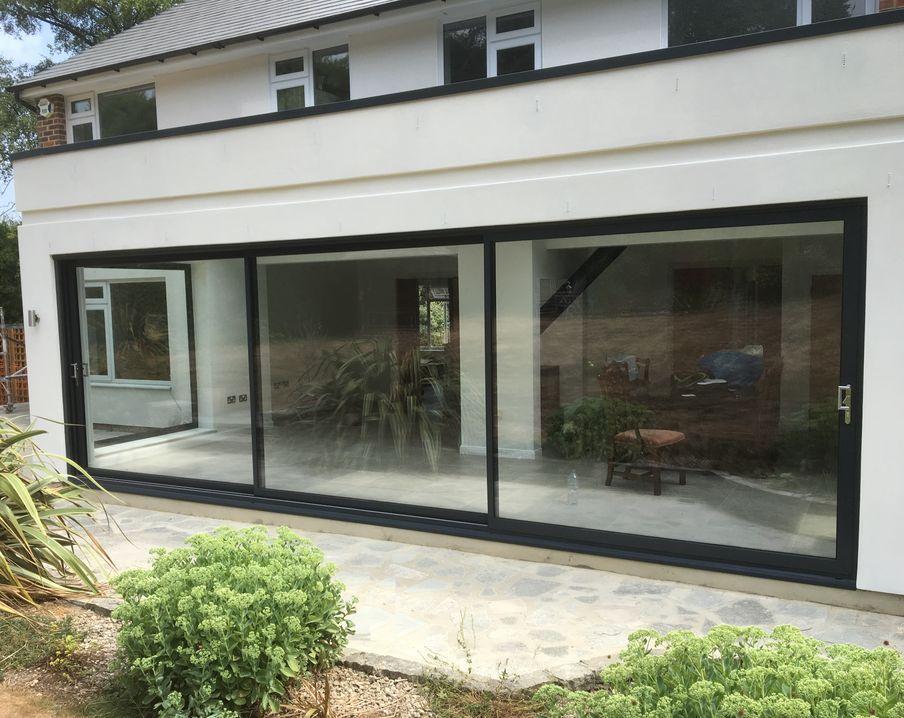 house with aluminium patio sliding doors