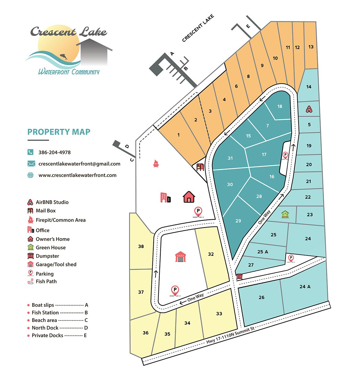 Crescent Lake Waterfront Community map