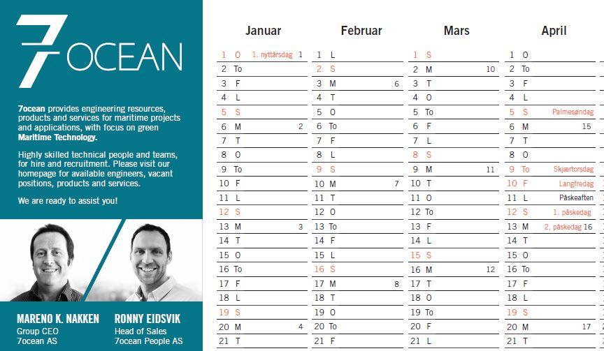 Calendar 2020 | 7ocean
